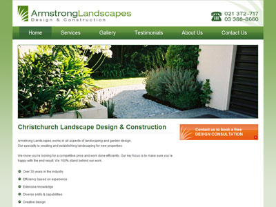 Web design for Armstrong Landscapes