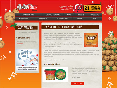 Web design for Cookie Time
