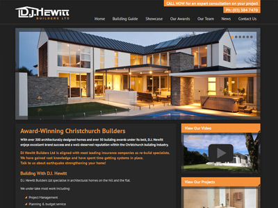 Web design for D.J. Hewitt Builders