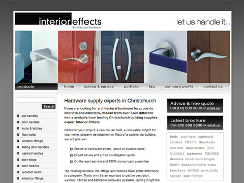 Web design for Interior Effects