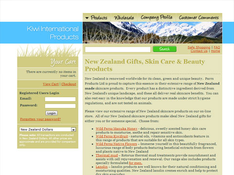 Web design for Kiwi Products