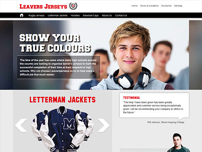 Web design for Leavers Jerseys
