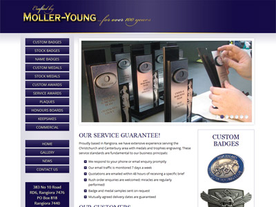 Web design for Moller Young