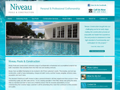 Web design for Niveau Pools and Construction