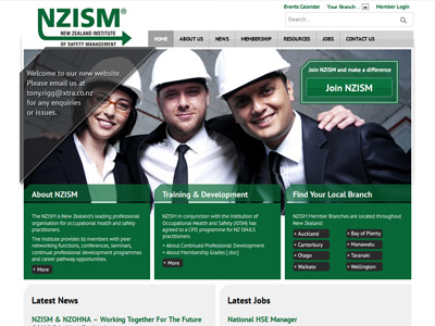 Web design for New Zealand Institute of Safety Management