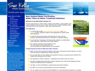Web design for Sue Kelly Water Systems