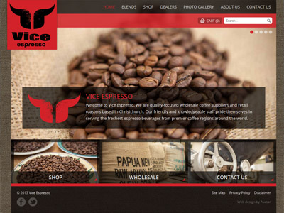 Web design for Vice Espresso
